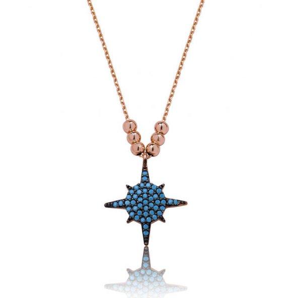 Armaganodan Gümüş Mavi Yıldız Bayan Kolye