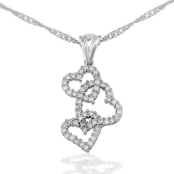 Armaganodan Gümüş 3 Kalpli Bayan Kolye