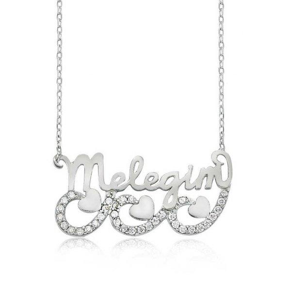 Armaganodan Gümüş Meleğim Yazılı Kalpli Bayan Kolye