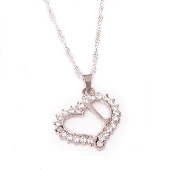 Armaganodan Gümüş I Harf Kalpli Bayan Kolye