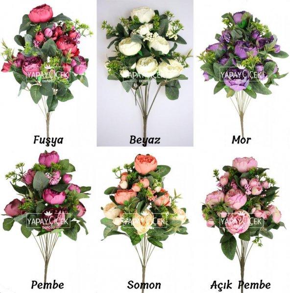 Yapay Çiçek 18 Goncalı Büyük Gül Aranjmanı 6 Renk