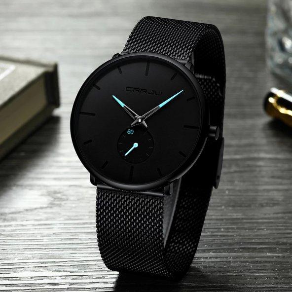 Crrju Erkek Kol Saati 2150 Siyah Hasır Sade ve Şık Tasarım Saat