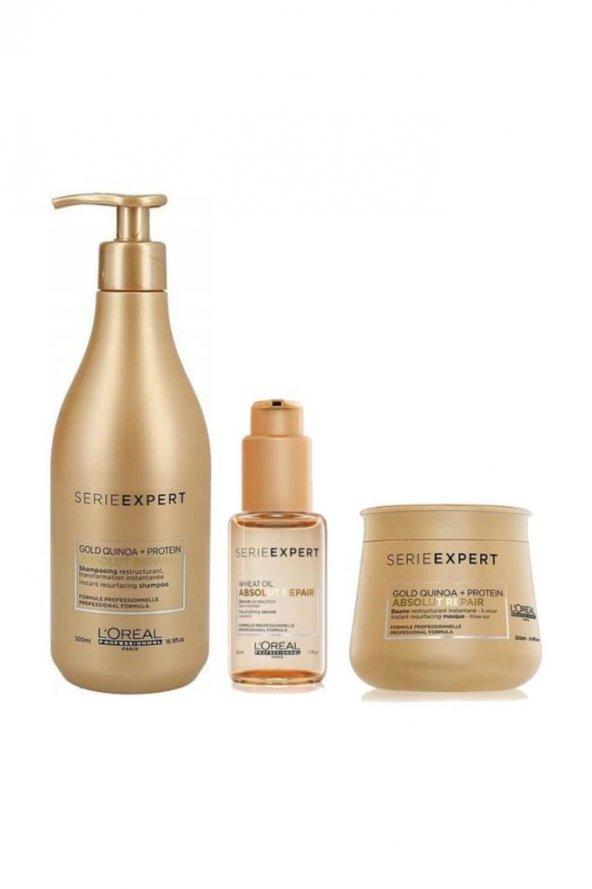 Loreal Gold Şampuan 500 ml+ Maske 250 ml+ Wheat Serum 50 ml