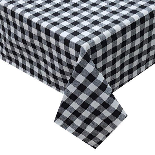 Zeren Home Kareli Mutfak Masa Örtüsü Siyah 140cm x 140cm