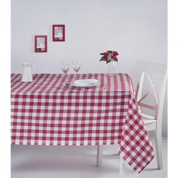 Zeren Home Kareli Mutfak Masa Örtüsü Kırmızı 130cm x 160cm