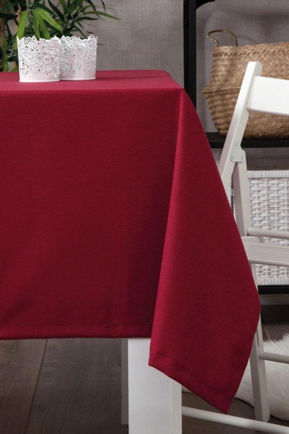 Zeren Home Dertsiz Düz Mutfak Masa Örtüsü Bordo 150cm x 200cm
