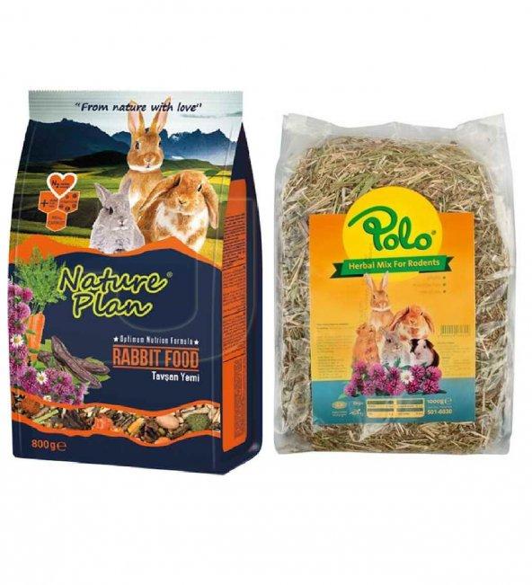 Nature Plan Tavşan Yemi 800Gr + Polo Herbal Mix Kemirgen Otu 1000 Gr