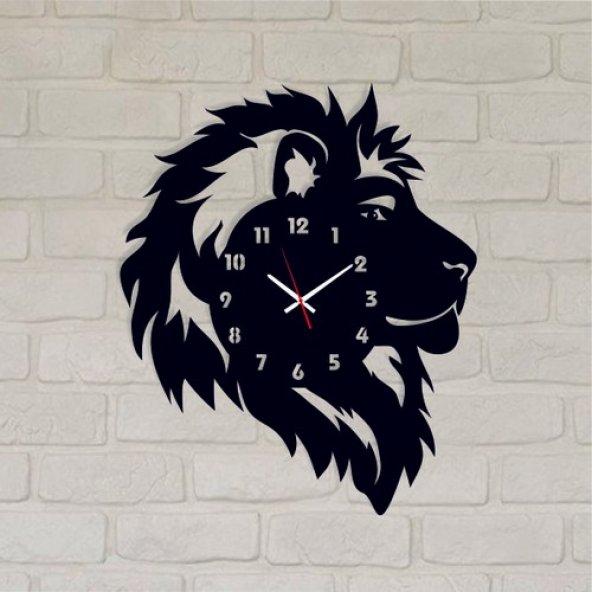 Reklam Fırsatı Ahşap Duvar Saati Siyah 052 Aslan Kafası