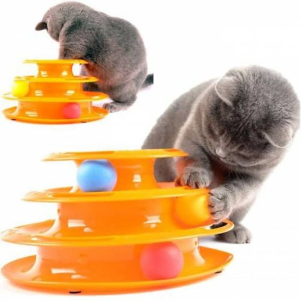 Tower Of Tracks 3 Katlı Kedi Oyuncağı  Top Kovalama