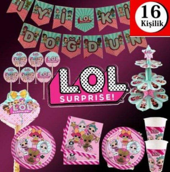LOL Bebek lol Doğum Günü Parti Malzemeleri Süsleri Set 16 Kişilik