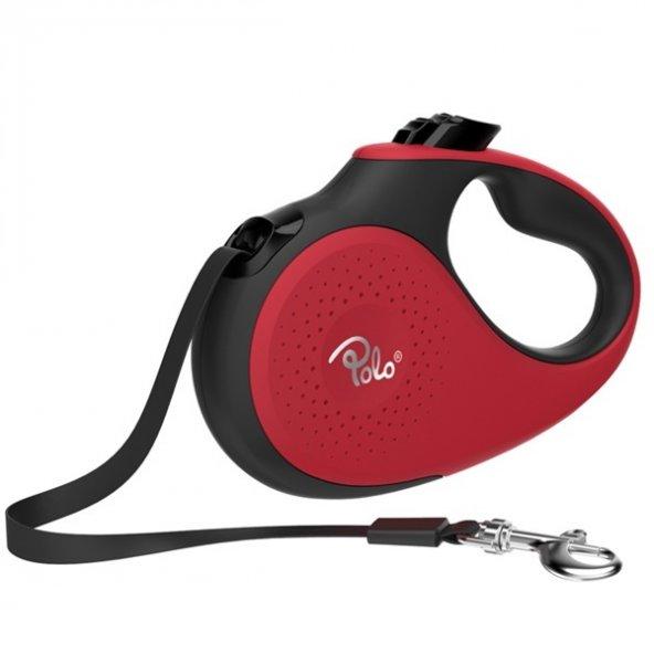 Polo Prestige Makaralı Otomatik Tasma M 5 Metre - 25 kg Kırmızı-Siyah