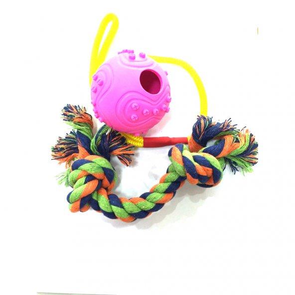İpli Köpek Oyun Topu 6 cm + Dental Diş İpi 20 cm