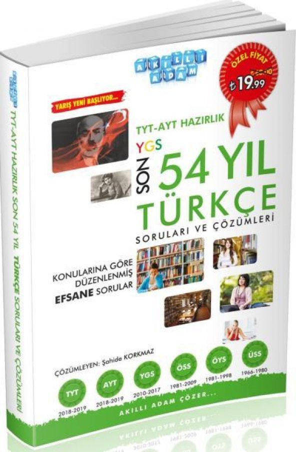 Akıllı Adam TYT AYT Hazırlık Son 54 Yıl Türkçe Çıkmış Soruları ve Çözümleri YENİ