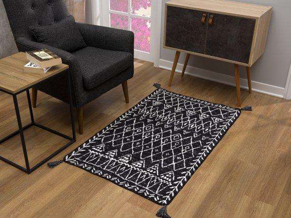 Caretta Home 160x230 Siyah Beyaz Ponponlu Mistik Dokuma Kilim