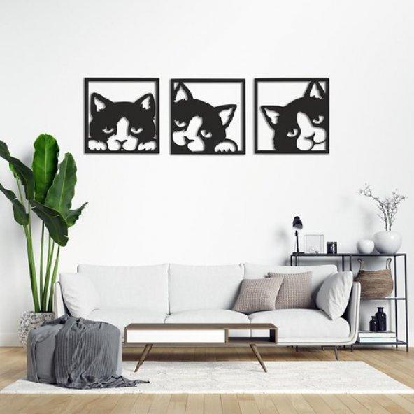 Şirin Kediler Ahşap Tablo