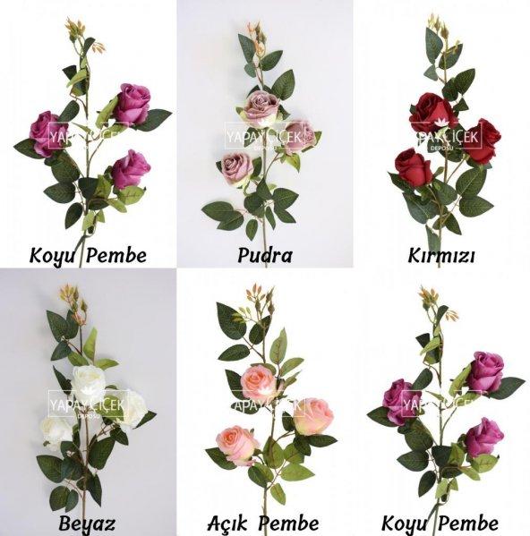 Yapay Çiçek Uzun Dal 3lü Gül 95 cm 5 Renk