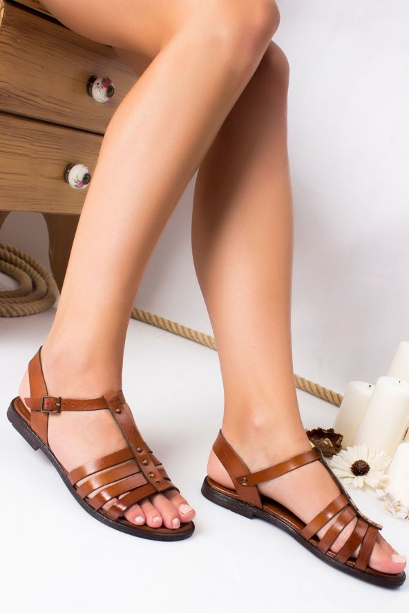 Noxx Hakiki Deri Sandalet TABA