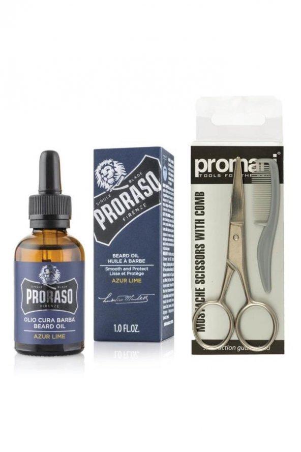 Proraso Beard Oil Sakal Bakım Yağı Azur Lime 30 ml+Promani Sakal ve Bıyık Makası + Tarak No:Pr-741