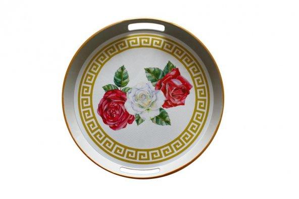 Red Rose Yuvarlak Tepsi Beyaz