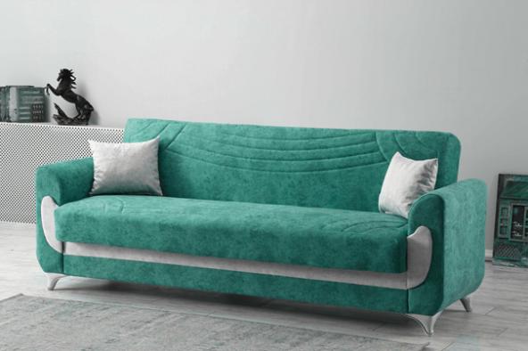Kardelen Modern Kanepe - Su Yeşili (Sandıklı ve Yataklı)