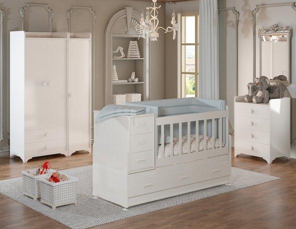 Hamak Bebek odası Takımı 3 kapılı beyaz