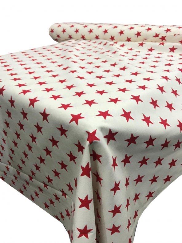 Zeren Home Beyaz Zemin Kırmızı Yıldızlar Dertsiz Mutfak Masa Örtüsü 160cm x 250cm