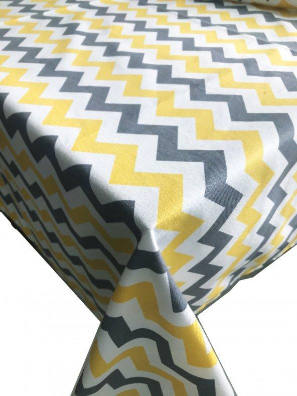 Zeren Home Sarı Beyaz Gri Zigzag Dertsiz Mutfak Masa Örtüsü 160cm x 200cm
