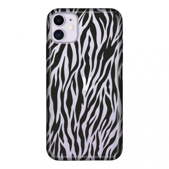 iPhone 11 6.1 inc Kılıf Desenli Esnek Silikon Telefon Kabı Kapak - Zebra Mod