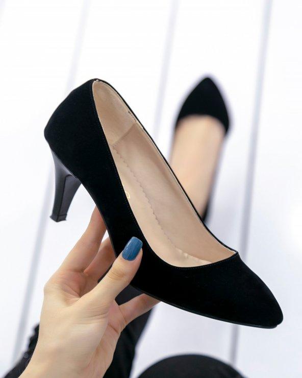 Ponzio Siyah Süet Stiletto Ayakkabı