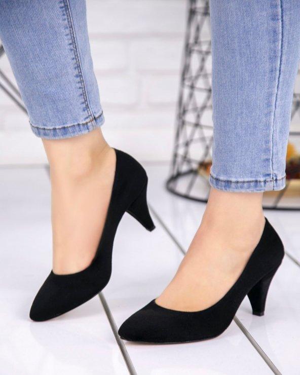 Randi Siyah Süet Topuklu Ayakkabı