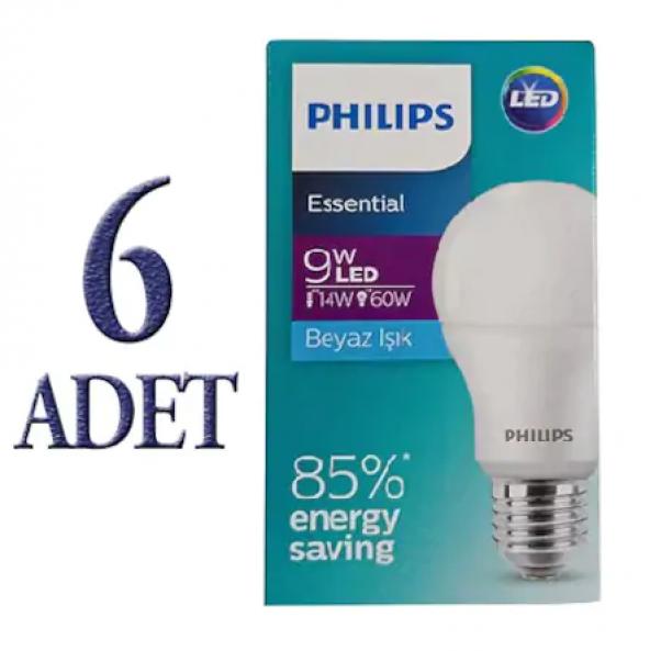 Philips LED Ampul 9W (60W) Essential E27 Duylu 806 Lümen (6 ADET)