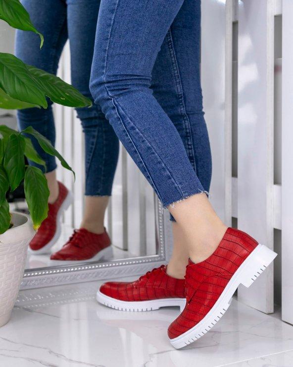 Abbie Kırmızı Cilt Desenli Oxford Ayakkabı