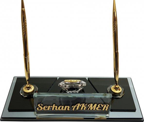 Hediye Kristal Masa İsimliği Kalemli Ofis Hediyesi Masa İsimliği M195 Füme