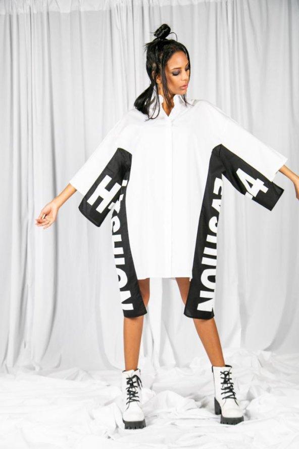 Özel Tasarım Uzun Beyaz Gömlek