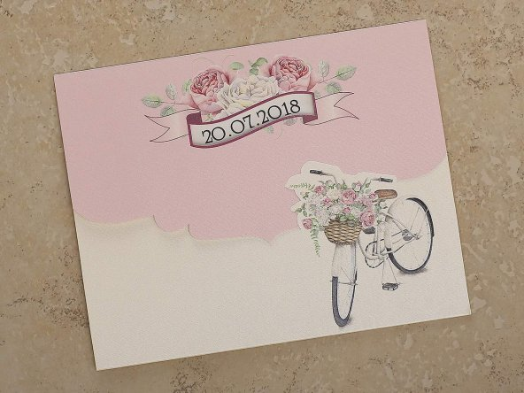 Bisikletli Romantik Davetiye 10482 - 100 Adet