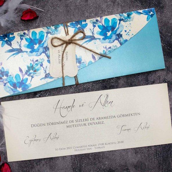 mavi zarflı sıradışı tasarımlı davetiye ELT63642 - 100 Adet