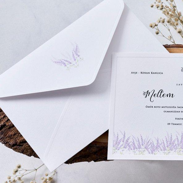 Lavanta Düğün Davetiyesi EB1141 - 100 Adet