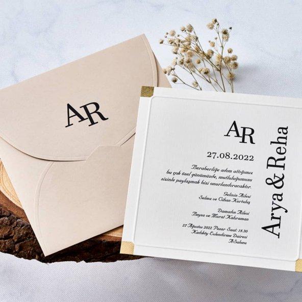 Sade Düğün Davetiyesi EB1149 - 100 Adet