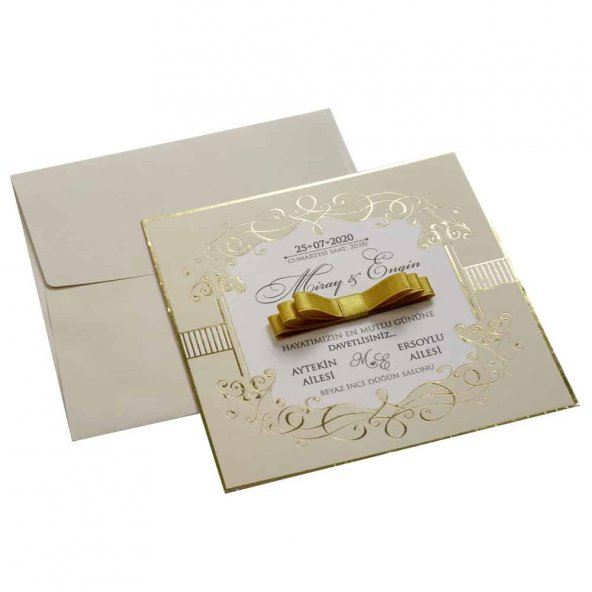 Kurdelalı Düğün Davetiyesi KL10512 - 100 Adet