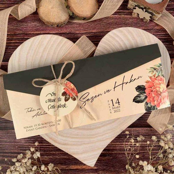 Çiçek Motifli Davetiye ELA74750 - 100 Adet