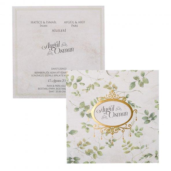 Yaprak Desenli Düğün Davetiyesi PE22379 - 100 Adet