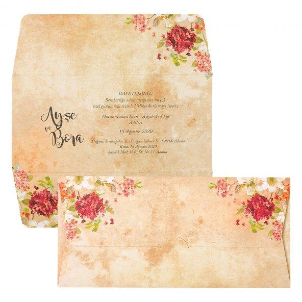 Çiçekli İlginç Düğün Davetiyesi PE22439 - 100 Adet