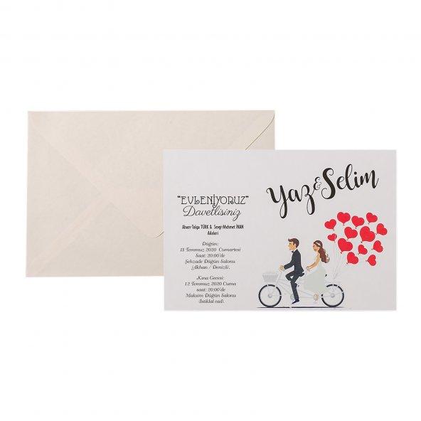 Kalpli Bisiklet Düğün Davetiyesi PE22452 - 100 Adet