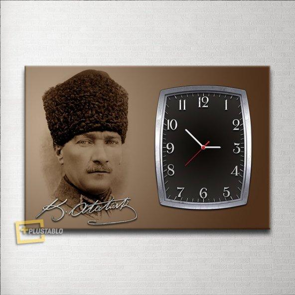 İmzalı Atatürk Saatli Kanvas Tablo