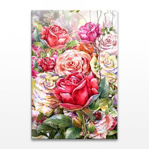 Renkli Güller Kanvas Tablo