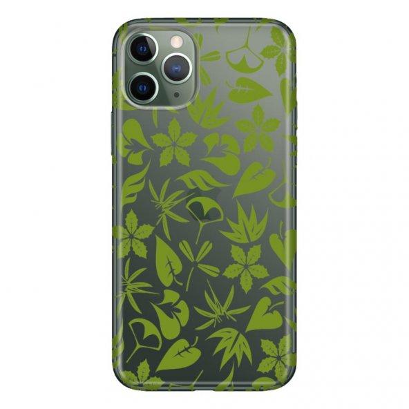 iPhone 11 Pro 5.8 inch  Kılıf Desenli Esnek Silikon Telefon Kabı Kapak - Yeşil Yaprak