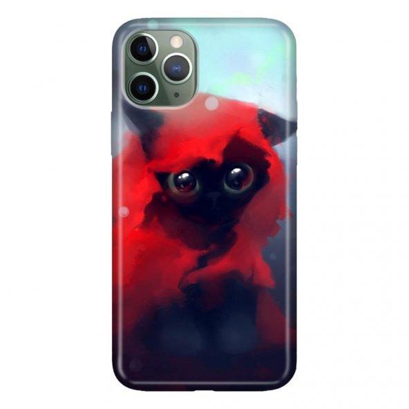 iPhone 11 Pro 5.8 inch  Kılıf Desenli Esnek Silikon Telefon Kabı Kapak - Red Cat