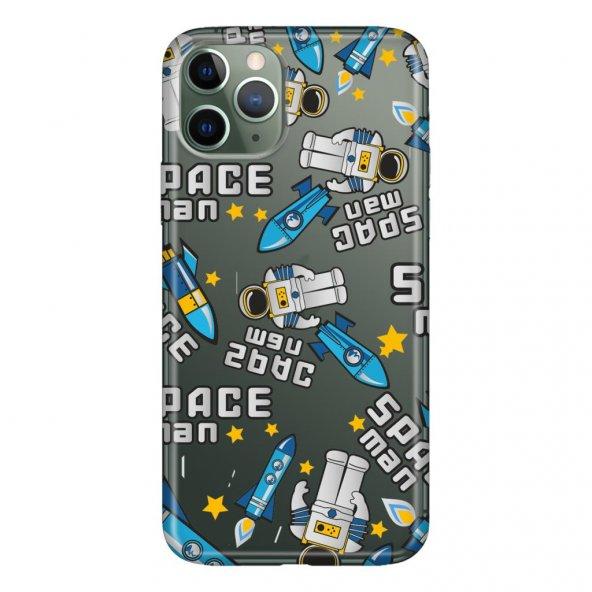 iPhone 11 Pro 5.8 inch  Kılıf Desenli Esnek Silikon Telefon Kabı Kapak - Spaceman