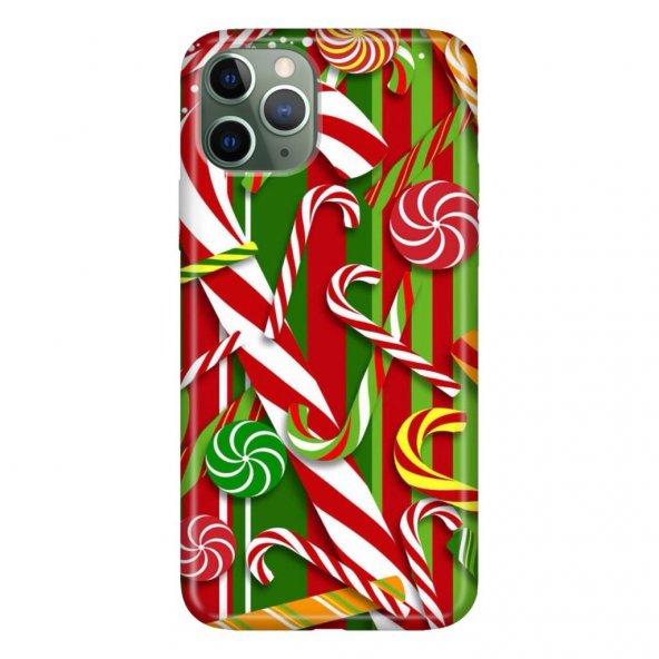 iPhone 11 Pro 5.8 inch  Kılıf Desenli Esnek Silikon Telefon Kabı Kapak - Candy Cane