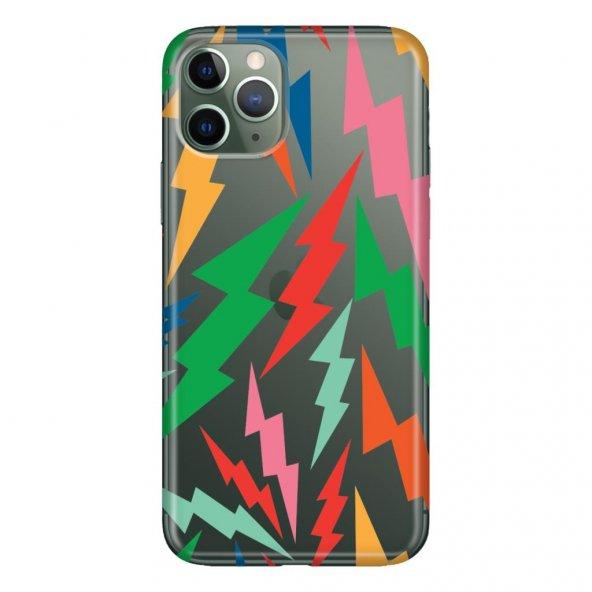 iPhone 11 Pro Max 6.5 inch Kılıf Desenli Esnek Silikon Telefon Kabı Kapak - Şimşek